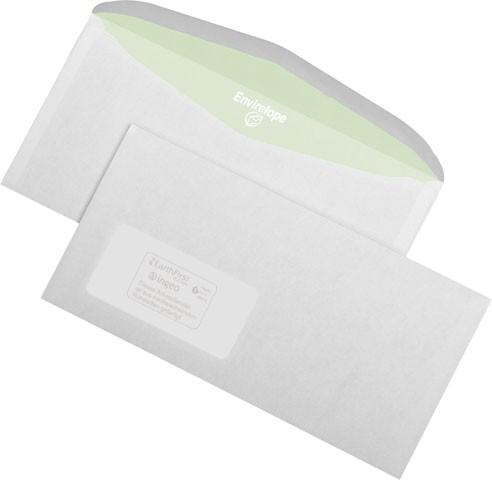 1000 Versandumschläge-Recycling, DIN C6/5 (DIN lang) mit Fenster, weiß, 114x229 mm