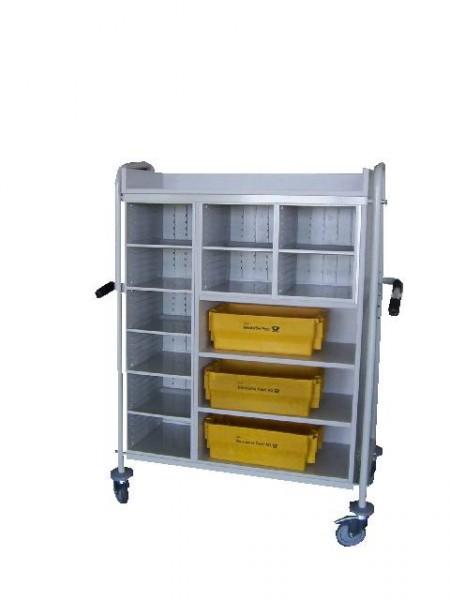 Transportfahrzeug mit 10 Sortierfächern und 3 Nischen für Postwannen